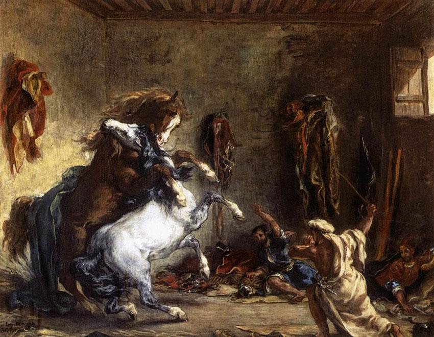 在马厩中打斗的阿拉伯马_油画_欧式油画_手绘油画_欧式图片