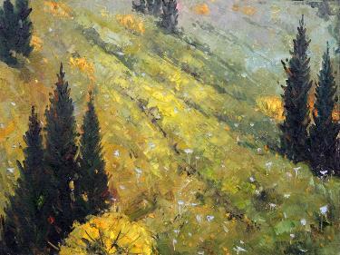山坡上的松树林 油画 油画 手绘 客厅 风景 装饰画