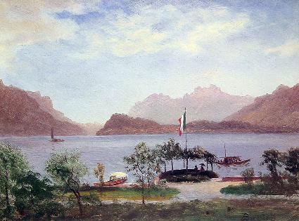 意大利湖景_油画_油画_手绘_手绘油画_装饰画