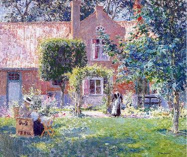 春天的花园 手绘油画